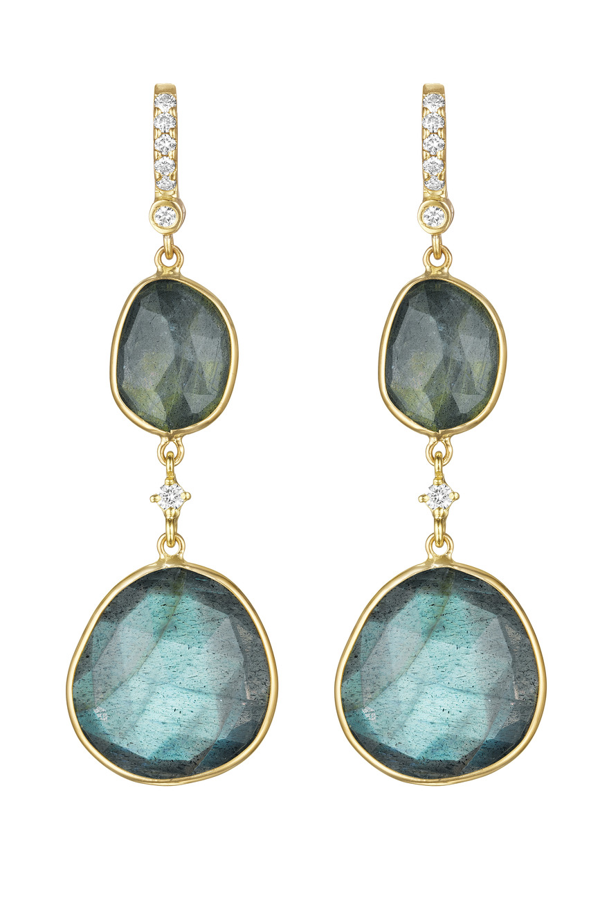 Double Drop Labrodorite Earrings with Diamond Station Link