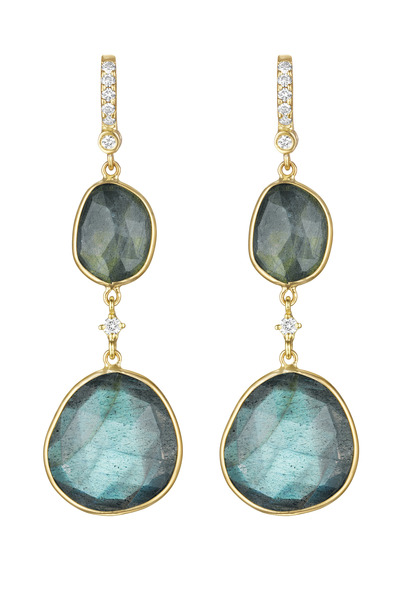 Penny Preville - Double Drop Labrodorite Earrings with Diamond Station Link
