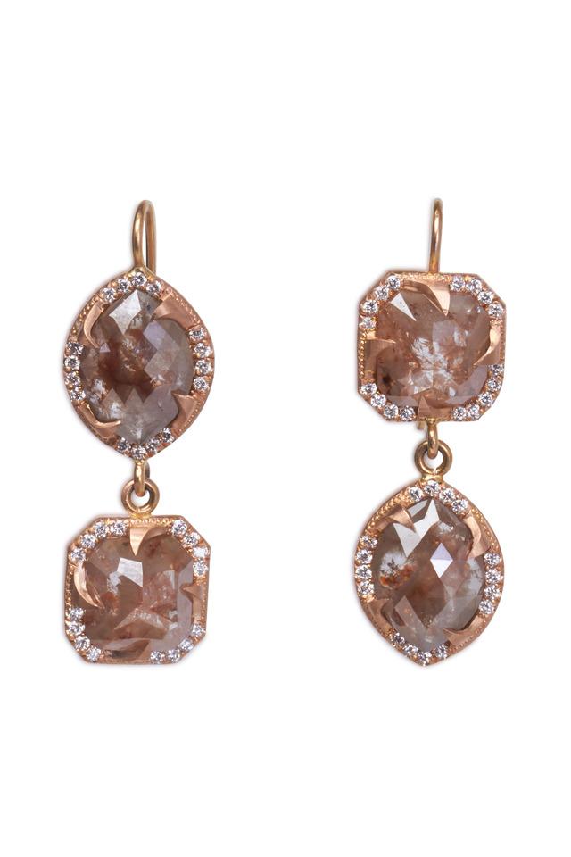 Rose Gold Rough & White Diamond Drop Earrings