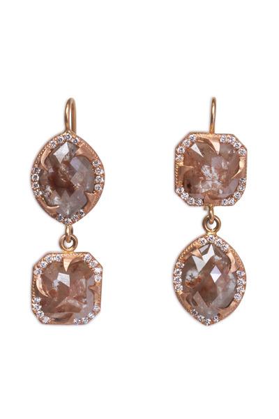 Sylva & Cie - Rose Gold Rough & White Diamond Drop Earrings