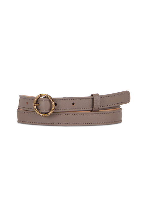 Agnona Gray Leather Skinny Belt