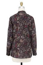 Donna Degnan - Dark Floral Print V-Neck Blouse