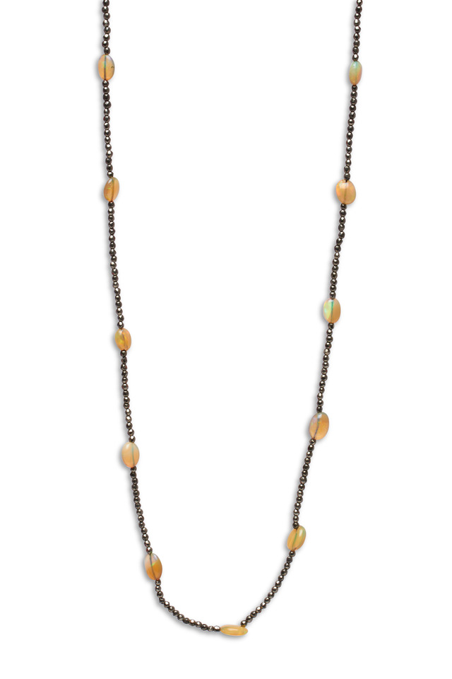 Pyrite Opal Bead Chain Necklace
