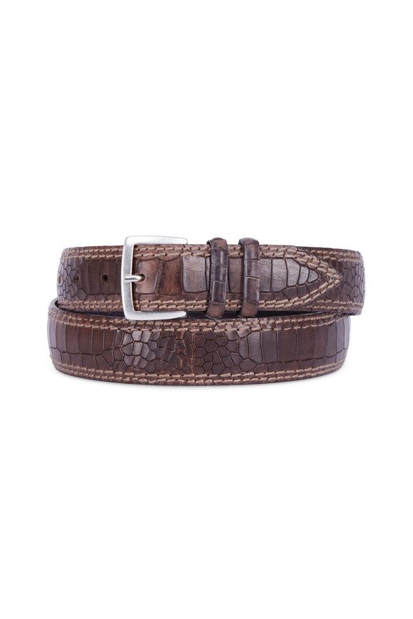 Orciani  Brown Leather Double Stitch Belt