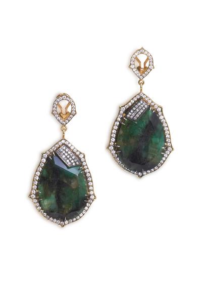 Sylva & Cie - Yellow Gold & Silver Emerald Diamond Earrings