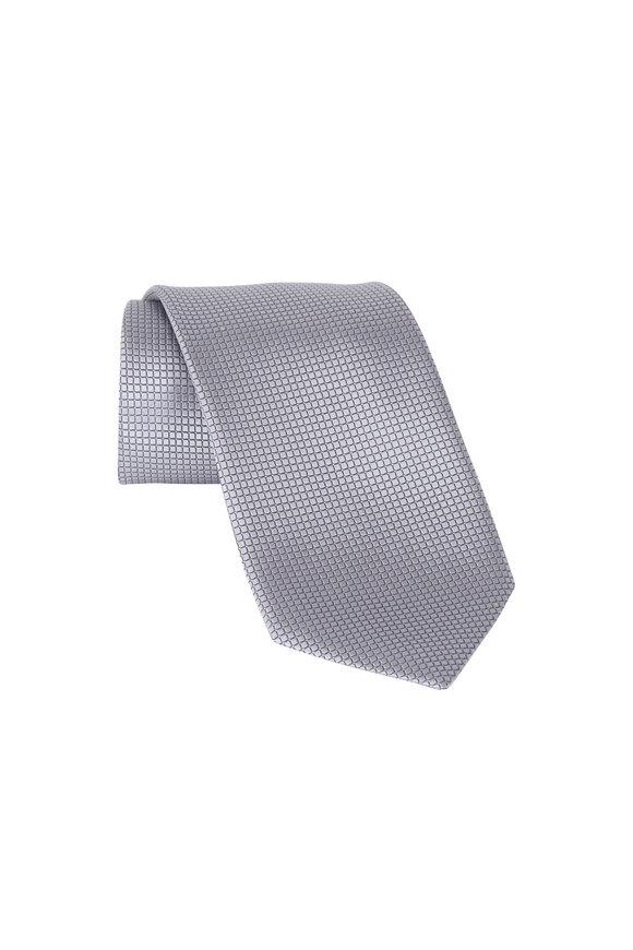 Ermenegildo Zegna Silver Grid Silk Necktie