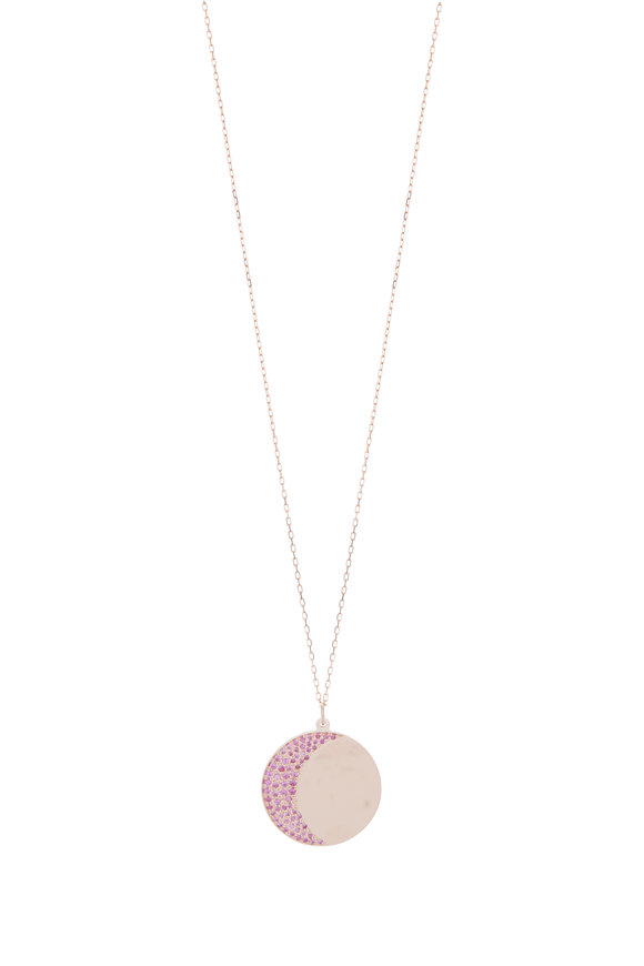 Genevieve Lau 14K Rose Gold & Pink Sapphire Moon Disc Necklace