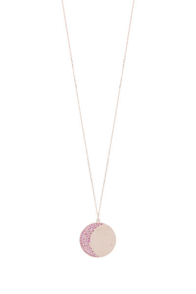 Genevieve Lau - 14K Rose Gold & Pink Sapphire Moon Disc Necklace