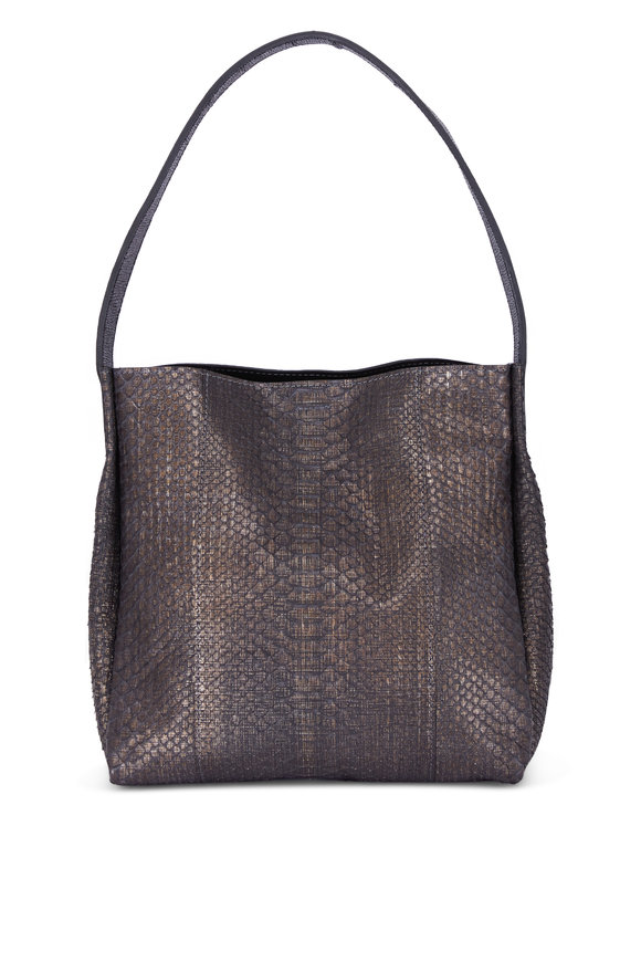 B May Bags Black Embossed Linen Python Hobo