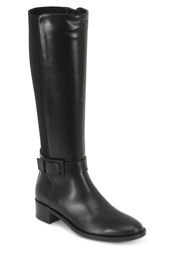 Aquatalia Orella Black Weatherproof Leather & Stretch Boot