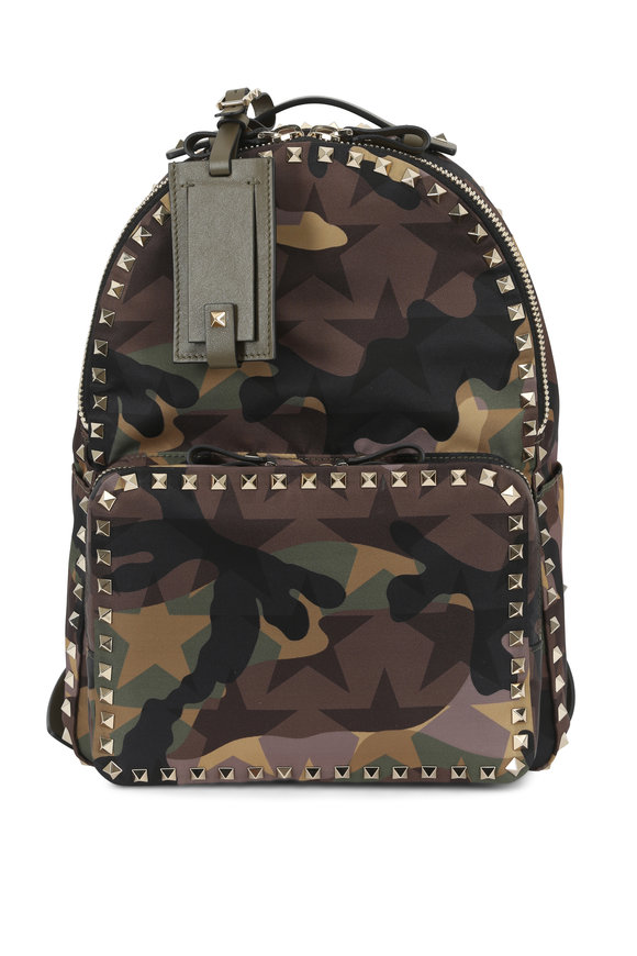 Valentino Rockstud Army Green Graphic Camo Nylon Backpack
