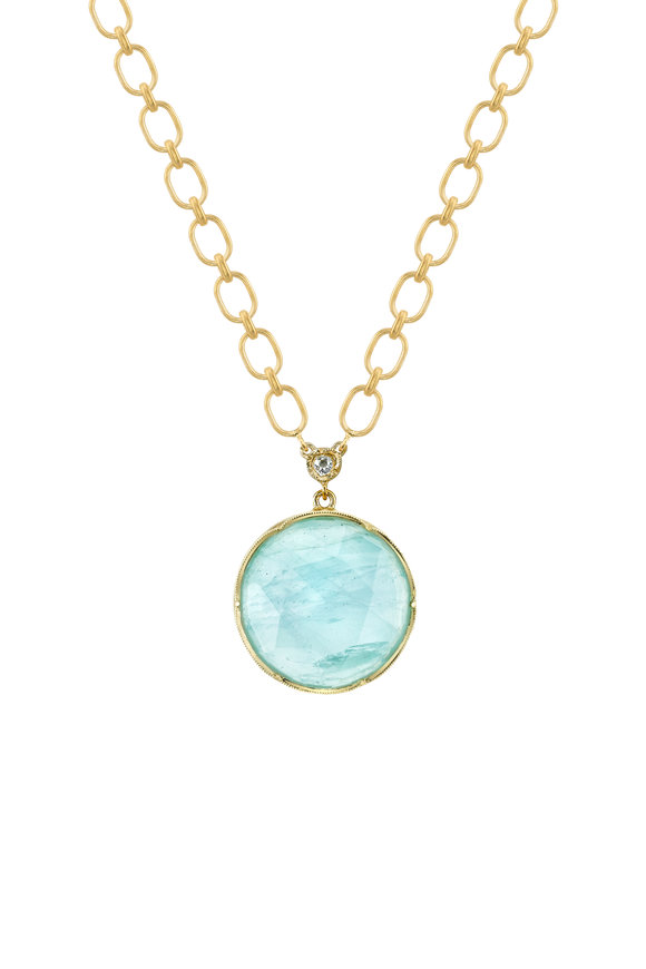 Irene Neuwirth 18K Yellow Gold Aquamarine Pendant Necklace