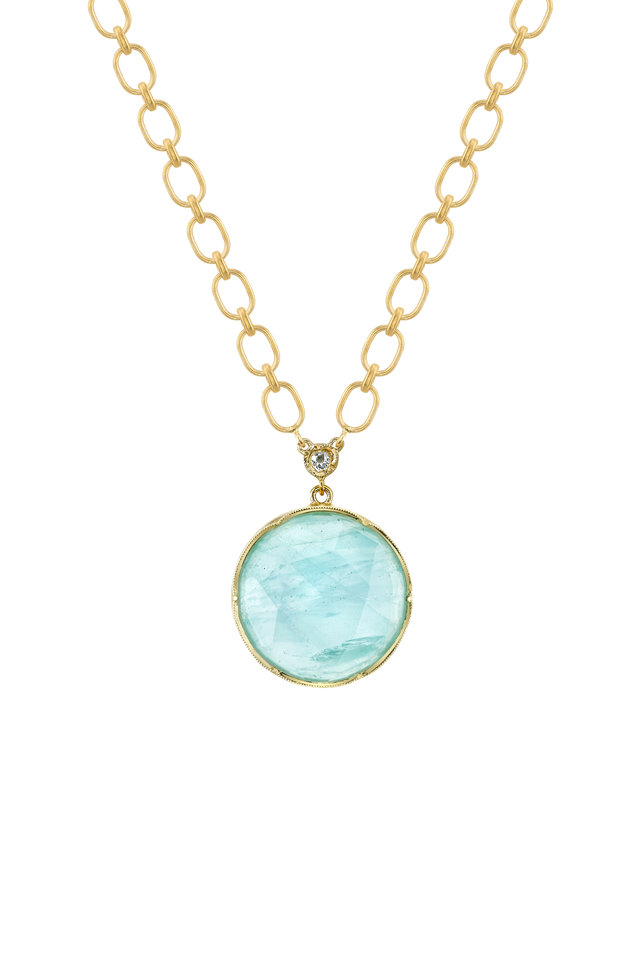 18K Yellow Gold Aquamarine Pendant Necklace