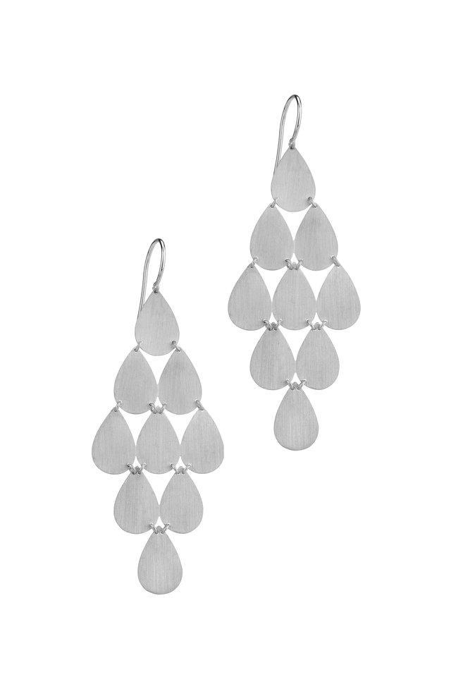 18K White Gold Teardrop Chandelier Earrings