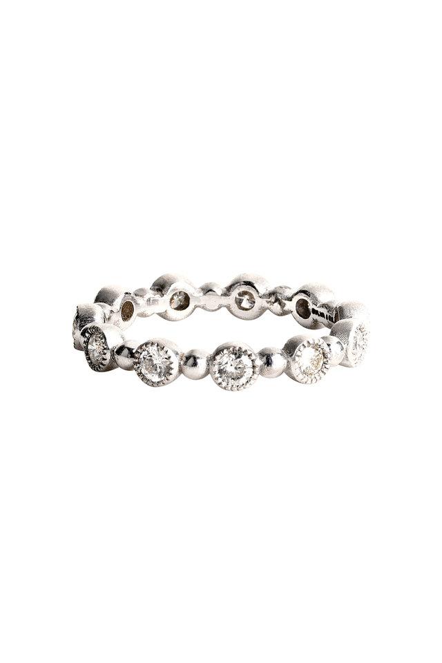 White Gold Diamond Dot Caviar Band