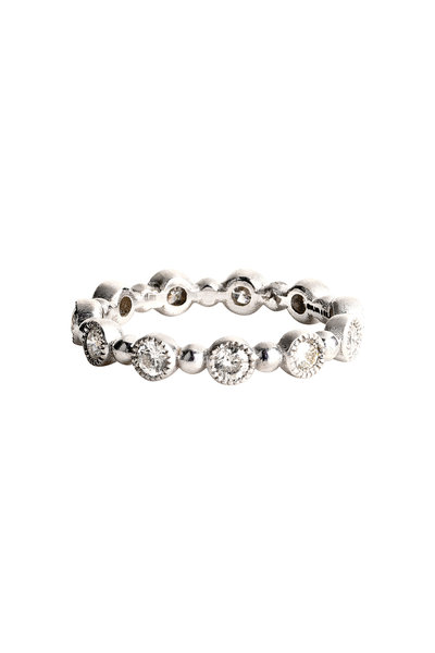 Sylva & Cie - White Gold Diamond Dot Caviar Band