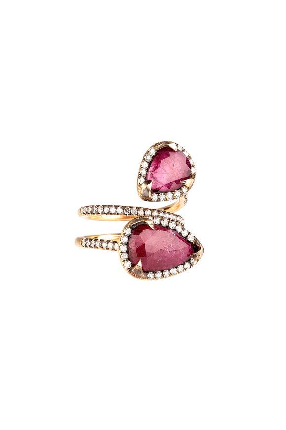Sylva & Cie 18K Yellow Gold Ruby & Diamond Bypass Ring