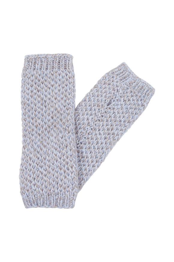 Hania Ingrid Blue & Natural Cashmere Fingerless Gloves