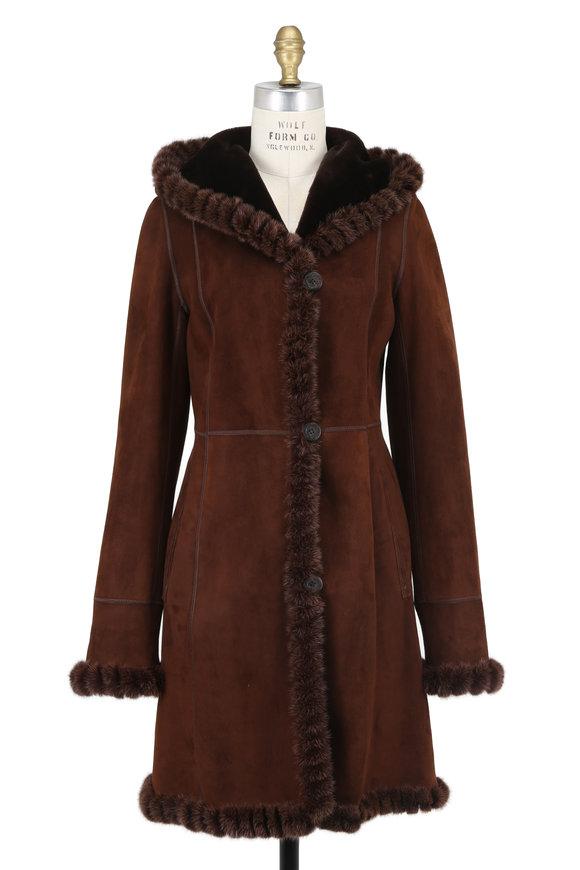 Viktoria Stass Mocha Brisa Shearling & Mink Trim Hooded Coat