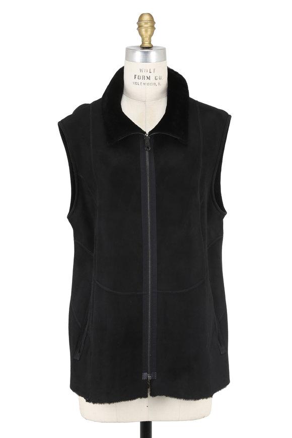 Viktoria Stass Black Shearling Zip Front Long Vest