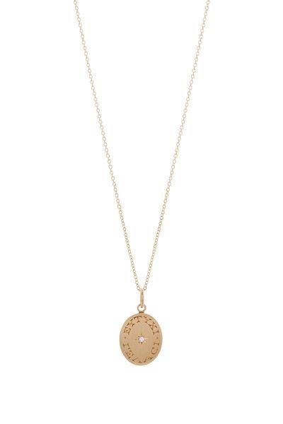 Caroline Ellen - Yellow Gold Inscribed Diamond Pendant Necklace