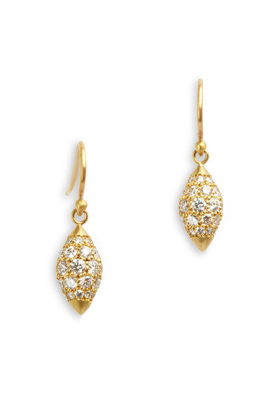 Caroline Ellen - Yellow Gold Pavé-Set White Diamond Earrings