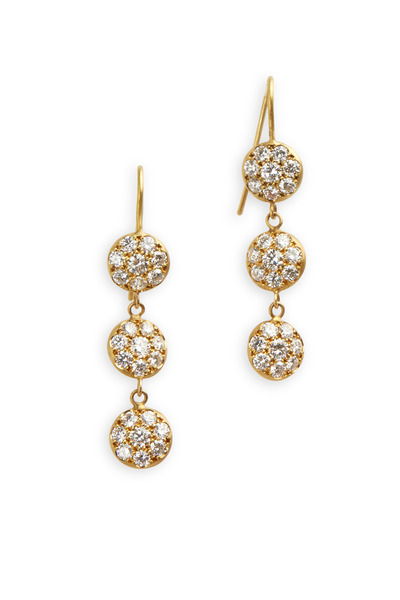 Caroline Ellen - Yellow Gold Triple Disk Diamond Earrings