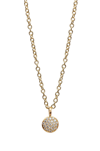 Caroline Ellen - 20K Yellow Gold Pavé Diamond Pendant Necklace