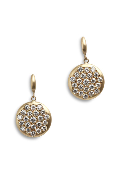 Caroline Ellen - Yellow Gold Single Pavé-Set Diamond Disk Earrings