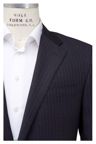 Hickey Freeman - Charcoal Gray Striped Wool Suit