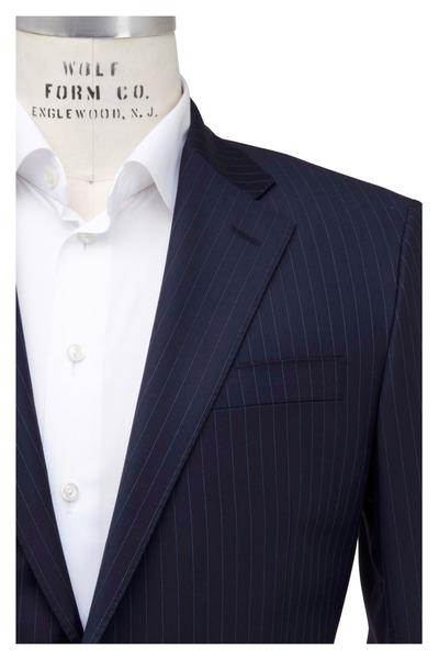 Hickey Freeman - Navy Blue Striped Wool Suit
