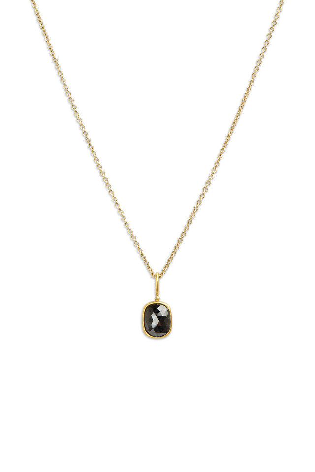 22K Yellow Gold Black Diamond Pendant Necklace