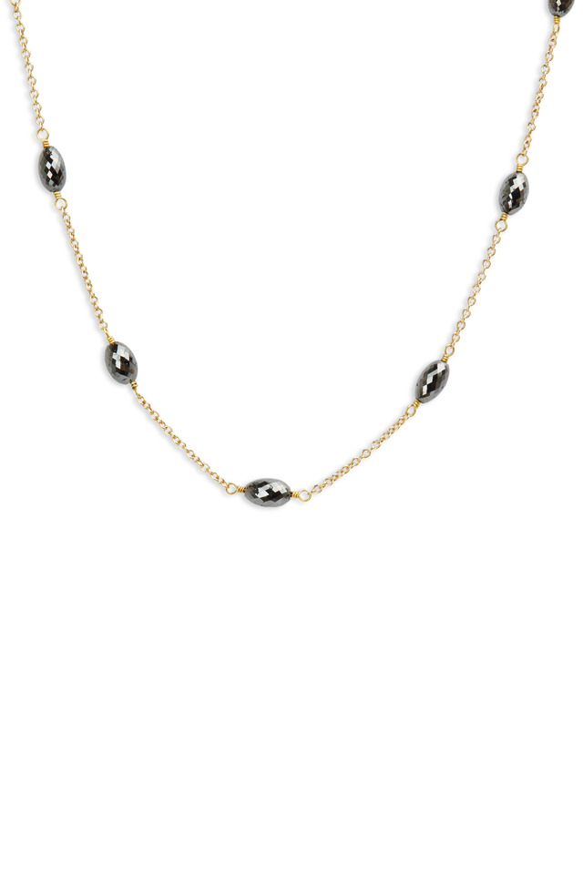 Gold Black Diamond Drum Bead Station Necklace
