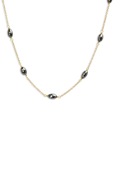 Caroline Ellen -  Gold Black Diamond Drum Bead Station Necklace