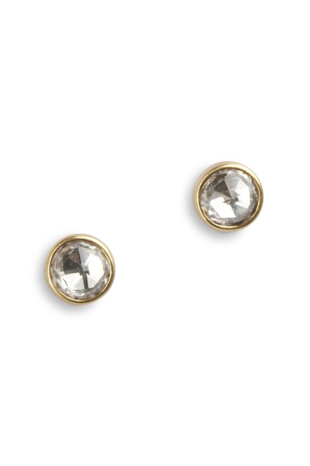 Yellow Gold Zircon Natural Diamond Stud Earrings