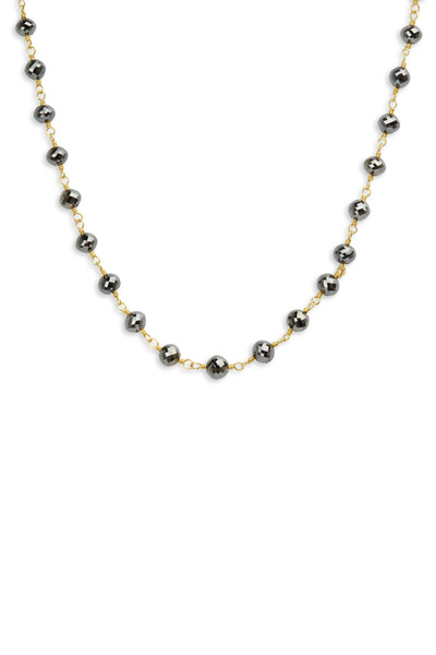Caroline Ellen - Yellow Gold Black Diamond Bead Wrap Necklace