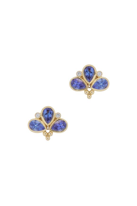 Temple St. Clair 18K Yellow Gold Tanzanite & Diamond Fan Earrings