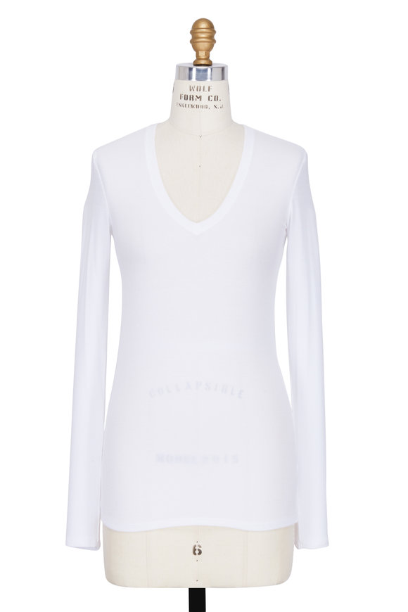 A T M White Ribbed V-Neck Long Sleeve Top