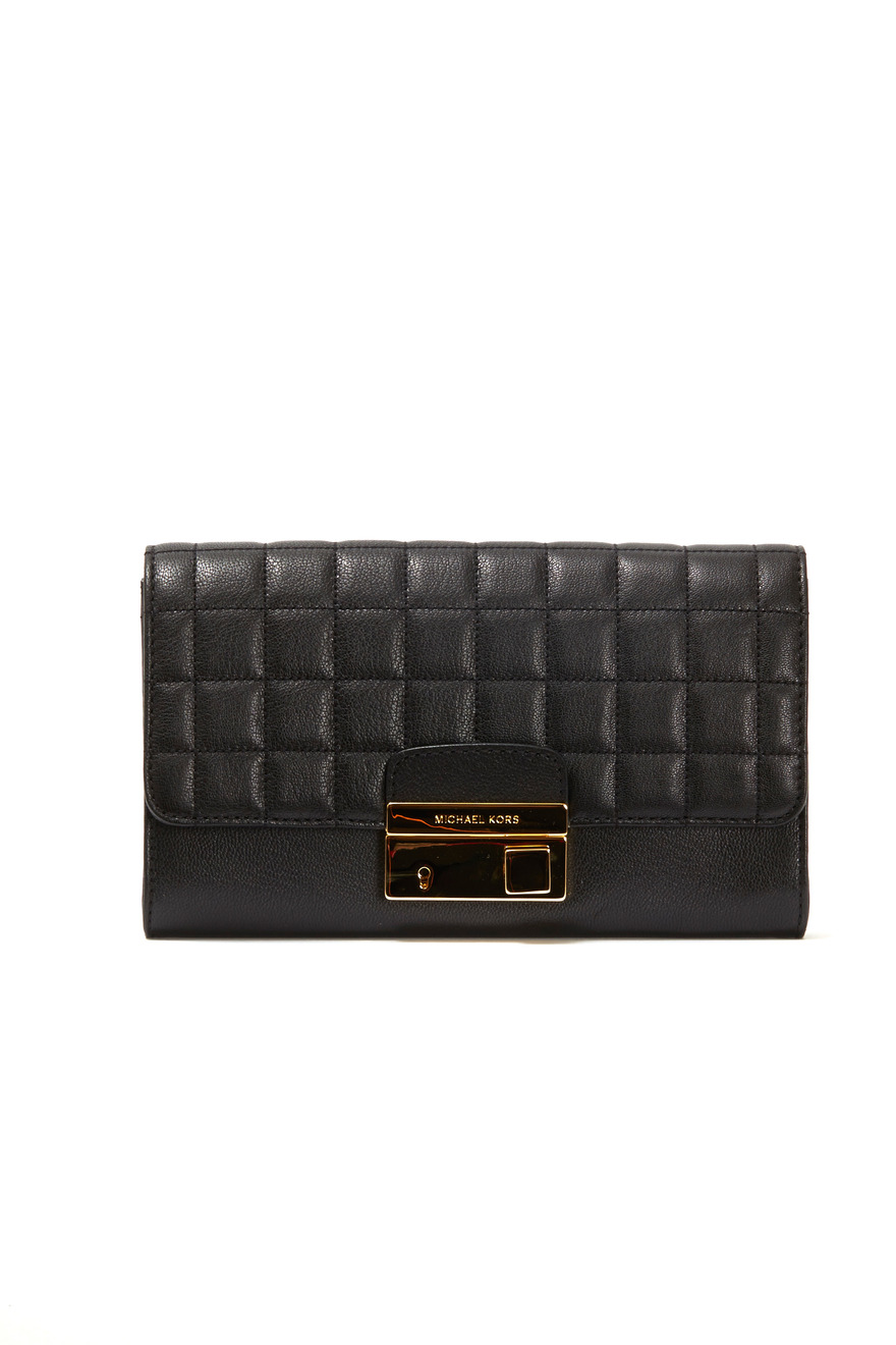 Gia Black Quilted Leather Clutch
