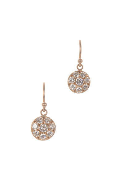 Caroline Ellen - Rose Gold Pavé Disk Earrings