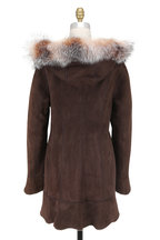 Viktoria Stass - Brown Brisa & Fox Trim Hooded Shearling Coat