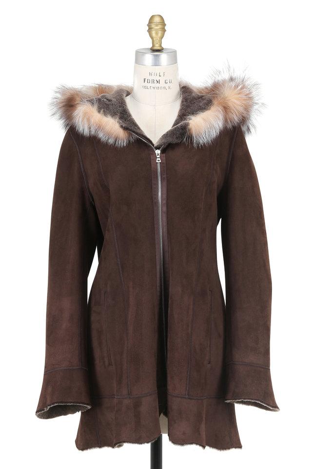 Brown Brisa & Fox Trim Hooded Shearling Coat