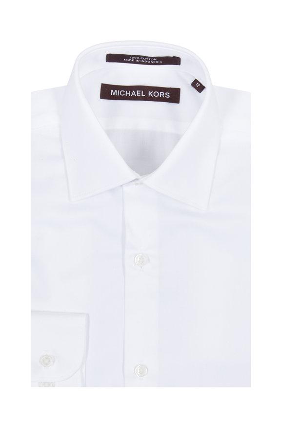 Hickey Freeman Children Boys Solid White Dress Shirt