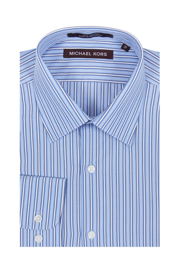 Hickey Freeman Children Boys Blue & White Striped Dress Shirt