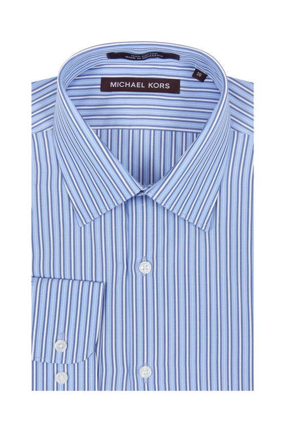 Hickey Freeman Children Boys Blue & White Striped Dress Shirt