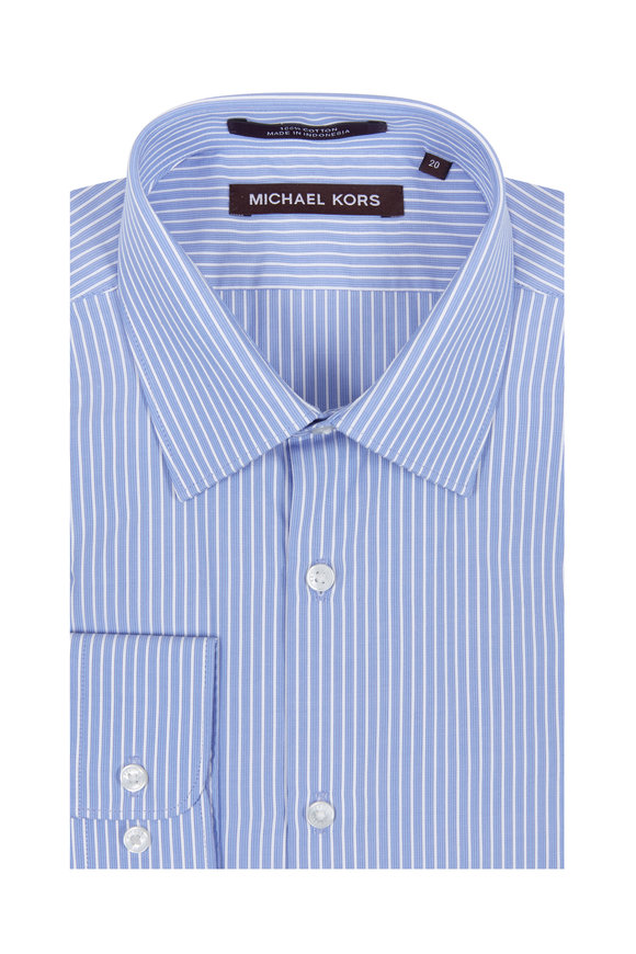 Hickey Freeman Children Boys Blue & White Pinstriped Dress Shirt