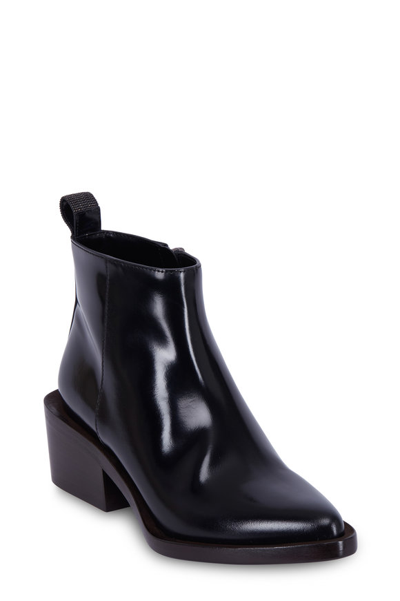 Brunello Cucinelli Navy Blue Patent Leather Stacked Heel Boot, 50mm