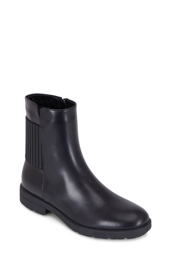 Aquatalia Lena Black Leather Striped Back Gore Moto Boot