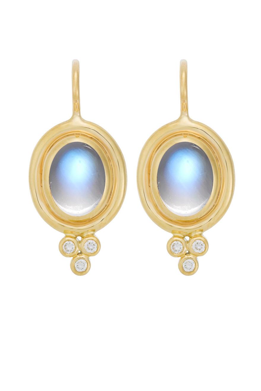 Yellow Gold Blue Moonstone Diamond Earrings