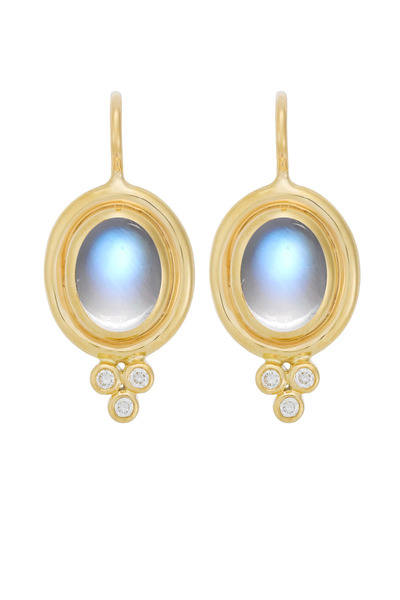 Temple St. Clair - Yellow Gold Blue Moonstone Diamond Earrings
